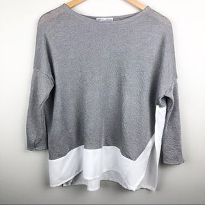 ZARA Grey White Contrast 3/4 Sleeve Blouse SZ S